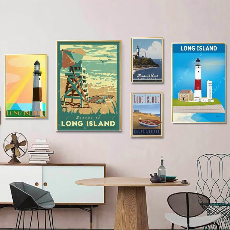 Ver América Long Island Vintage viajes pósters Maps lienzo pintura cartel de papel Kraft recubierto etiqueta de la pared decoración del hogar regalo