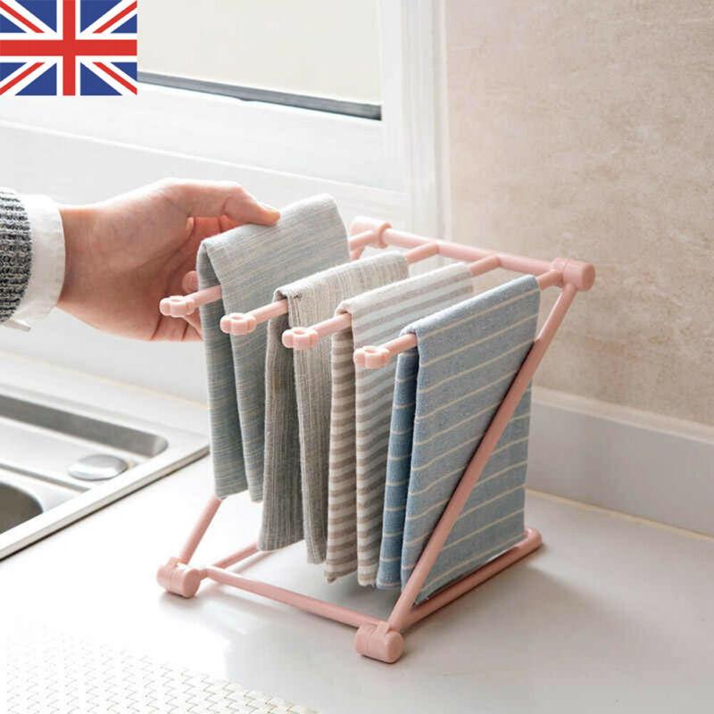 ☞❀❤♕GOANew plegable estante de secado de botellas estante de cocina paño de toalla de almacenamiento organizador estante de soporte
