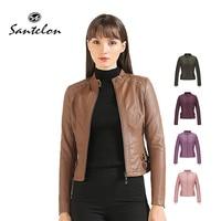 Женская куртка из искусственной кожи с длинным рукавом, осенняя повседневная куртка из искусственной кожи с заклепками и бархатной подклад...