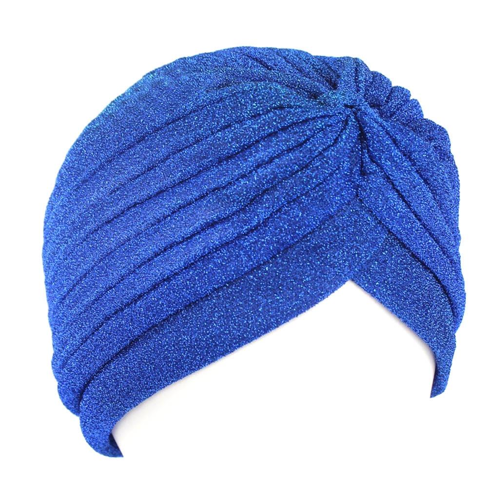 Hot Indian Style Muslim Thin Hijab Turban Fashion Women Gold Shiny Turban New Stretchable Soft Bright Hat Indian Hats Head Wraps