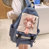new waterproof nylon backpack for women solid color school bag for teenage girl casual school bags travel women backpack 50