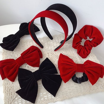 Velvet Cloth Alloy Black Red Bowknot Elastic Hair Bands Ponytail Holders Hairband Barrettes Hair Clips & Pins Headwear for Women