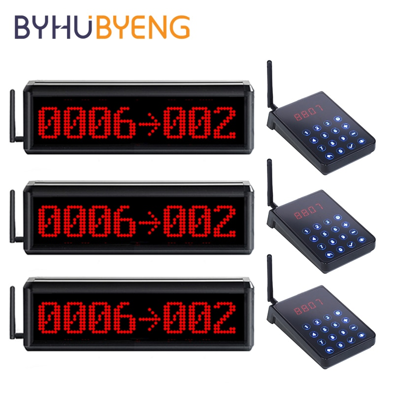 BYHUBYENG Hospital Queue Management Queuing Wireless Calling System For Bank Video FM 433MHz Table Service Pager A Cafe