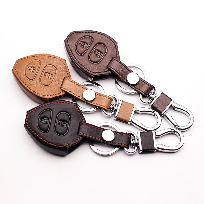 Gran oferta de Funda de cuero para Toyota Corolla Rav4 Yaris Avensis / Prado cartera de la llave del coche estilo coche 2 botones starline a91 remoto