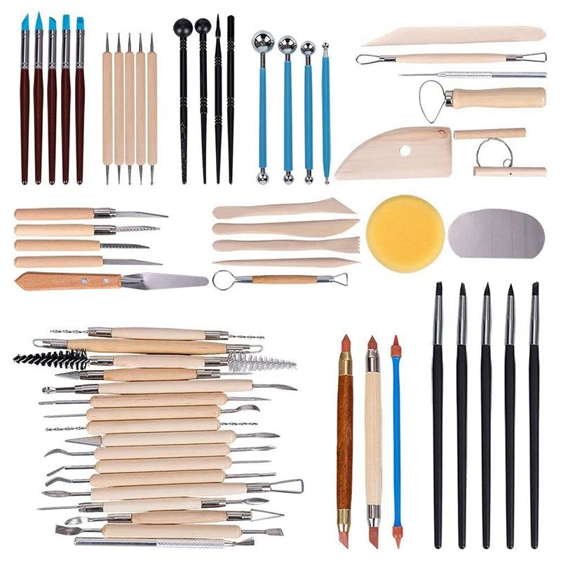 أدوات الفخار للنحت ، مجموعة أدوات نحت الطين بمقبض خشبي ، مجموعة أدوات تنظيف الطين ، مجموعة طلاء الصخور ، 61 قطعة
