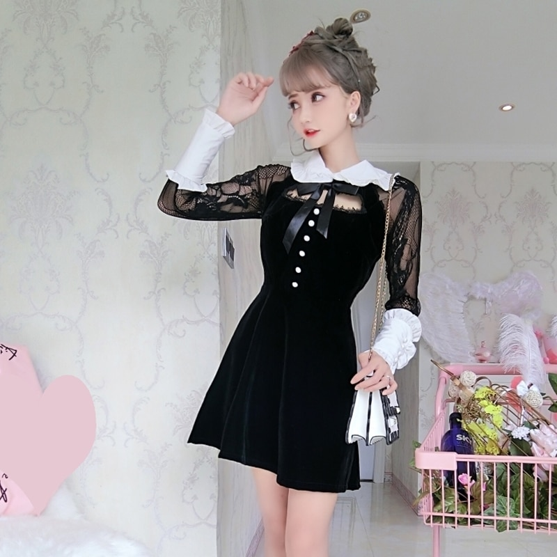 Noir creux Sexy dentelle Loli Op tempérament Lolita robe nœud gothique robe Kawaii fille robe victorienne Cosplay gothique Lolita