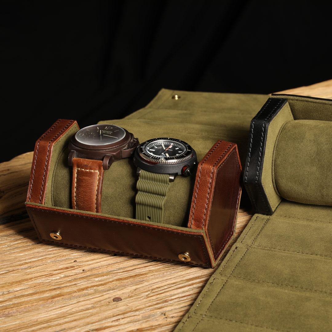 Handmade Leather Watch Boxes Storage Organizer Box Luxury Black Portable Watch Box Bag Hard Men Mechanical Watch Travel Roll