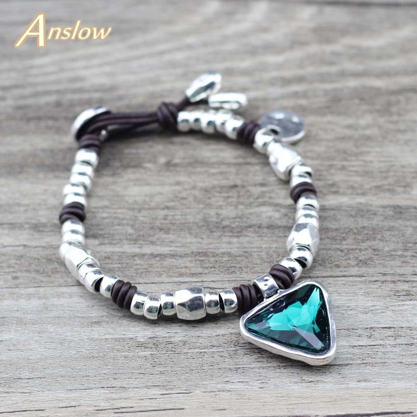 Anslow Design Leder Armbänder Handschellen Armbänder Schmuck Zubehör Charme Perlen Frauen Paar Kristall Armband LOW0763LB