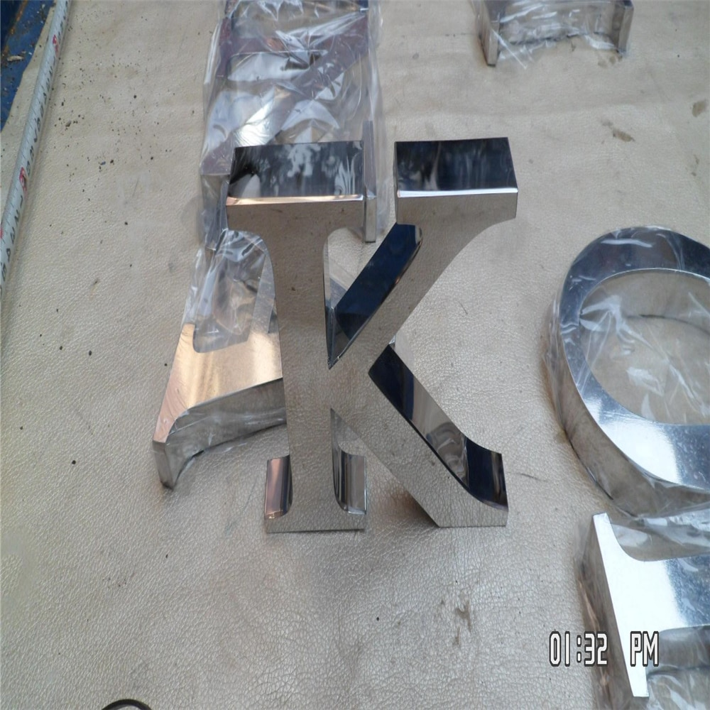 Outdoor fine workmanship stainless steel letters sign, mirror polished stainless steel shop name letter signages