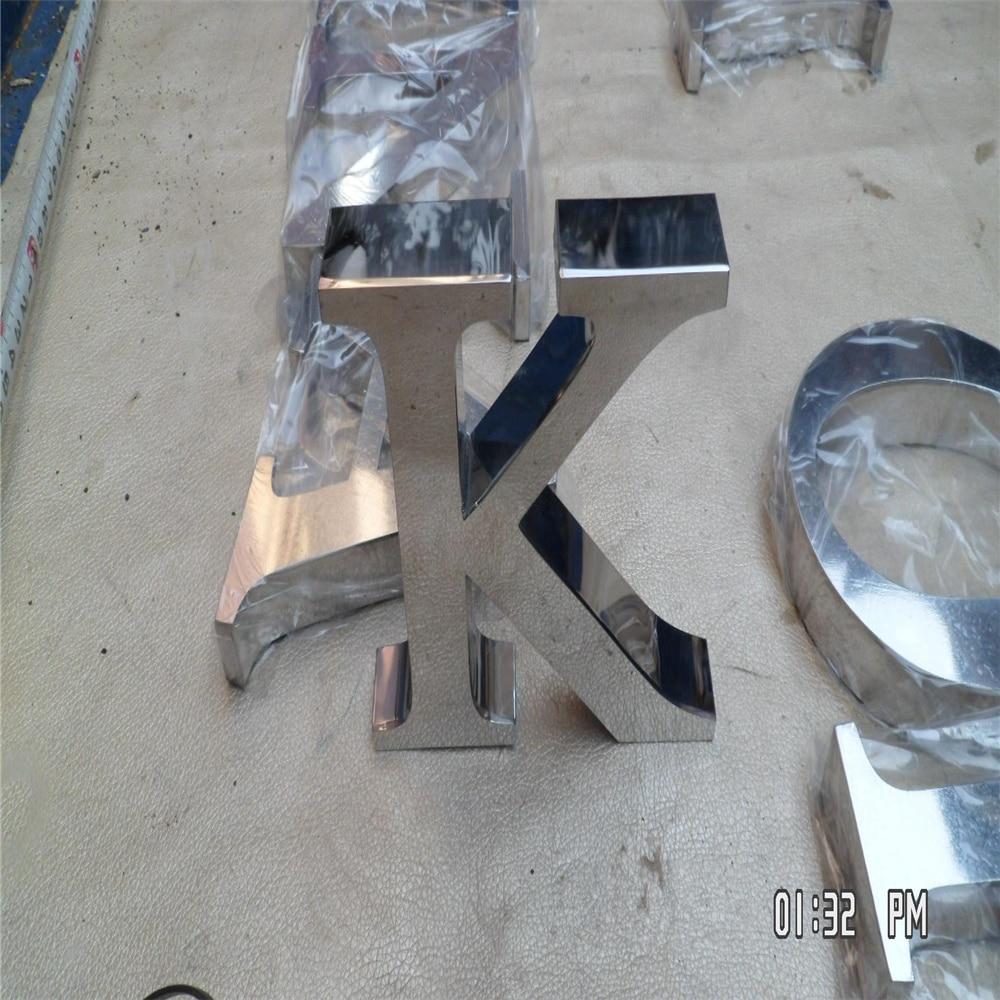 لافتات حروف من الفولاذ المقاوم للصدأ ، لامعة في الهواء الطلق ، مصقولة بمرآة ، من الفولاذ المقاوم للصدأ