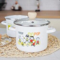 16cm alta e grossa esmalte pote binaural panela de sopa esmalte panela de sopa esmalte panela de fervura pote de esmalte pote de leite pote de panela de panelas