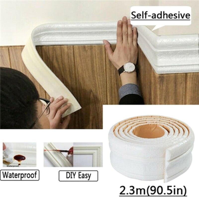 Línea de recorte de pared rodapié patrón 3D pegatina decoración autoadhesiva tira impermeable B99