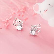 OBEAR Siver Plated Cute Mouse Micro Zircon Ear Studs Women Jewelry Girls Kid Birthday Gift Cute Anim