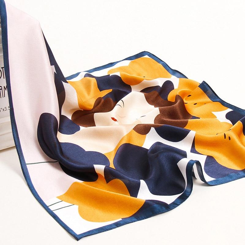 53x53cm Real Silk Square Scarf Women Print Flower Bandana Pure Headscarf Cute Cat Suqare Handkerchief Foulard Femme