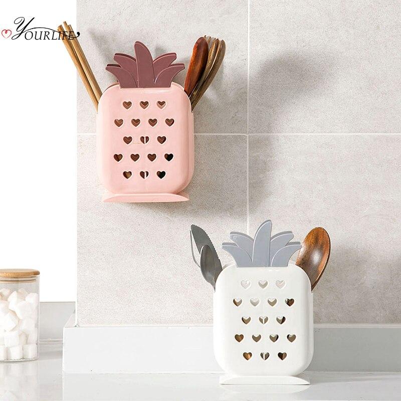Oyourlife criativo estilo abacaxi utensílios de mesa titular cozinha pauzinhos garfo colher escorredor secagem rack talheres organizador