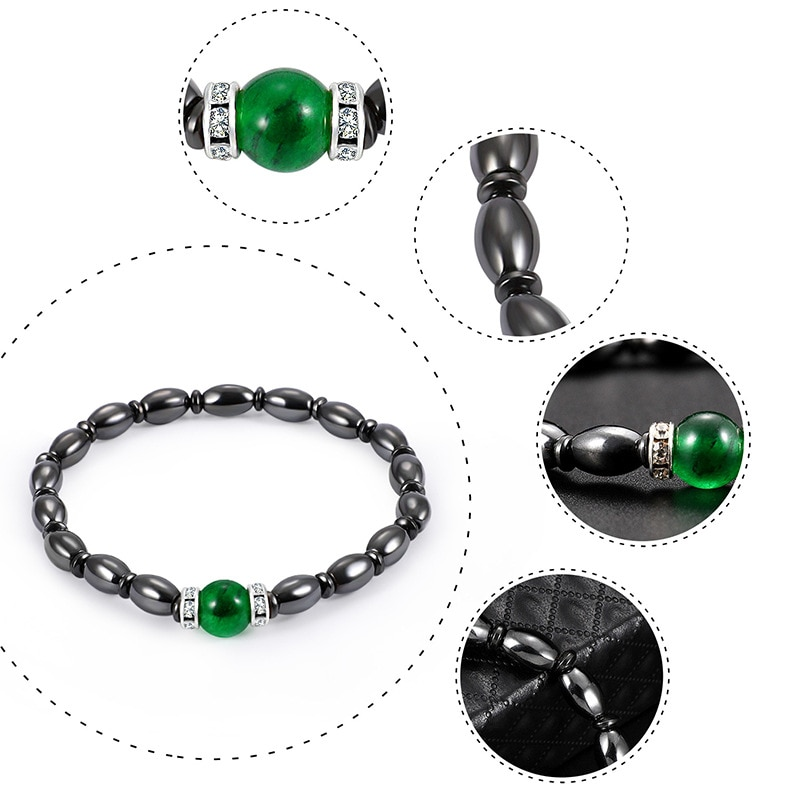 Green Cat Eye Plus Magnetic Black Magnet Bracelet Handmade Micro-Elastic Hand Accessories for Travel Wear  - buy with discount