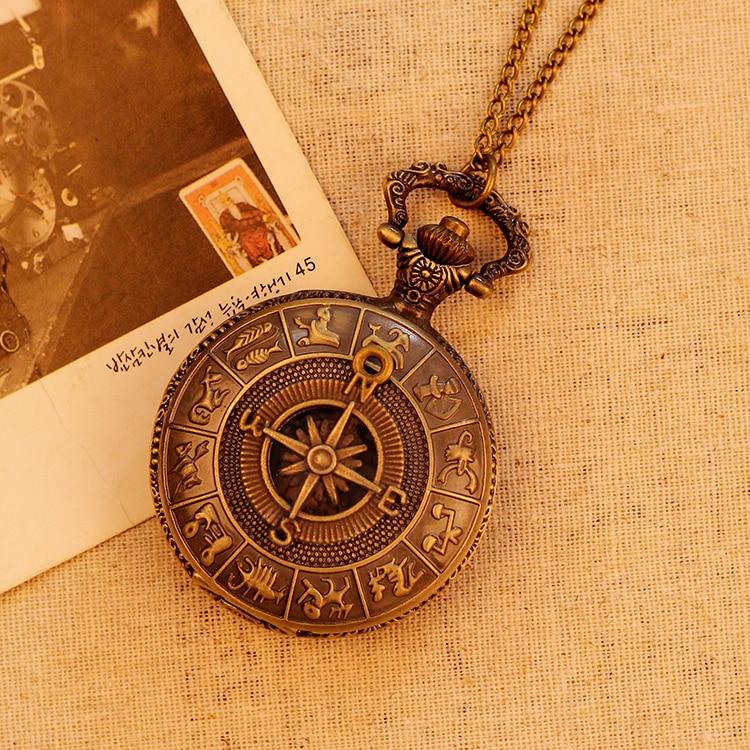 Fashion Antique Bronze Men Women Pocket Watch Fashion Luxury Vintage Necklace Map Pattern Pendant Pocket Watch Relogio Masculino