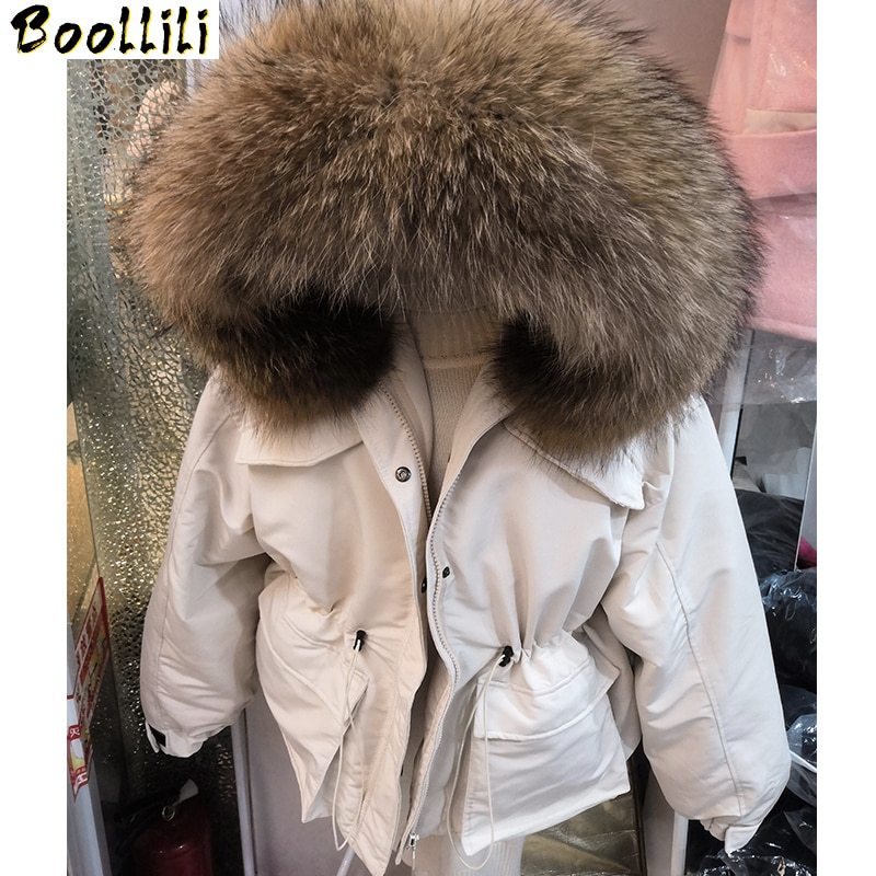 Boollili-معطف نسائي برقبة من فرو الراكون ، جاكيت دافئ كوري ، معطف بطة بيضاء ، جديد ، 2020 ، 90%