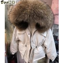 Boollili 2020 nouveau manteau dhiver femmes 90% blanc canard doudoune réel raton laveur fourrure col bouffant veste femmes coréen chaud Parka