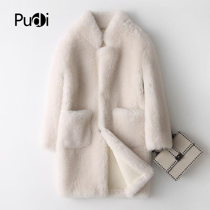 Aorice A17833 معطف من الصوف الحقيقي معطف الفرو سترة أكثر من حجم سترة المرأة الشتاء الدافئة الفراء معاطف لون كريم