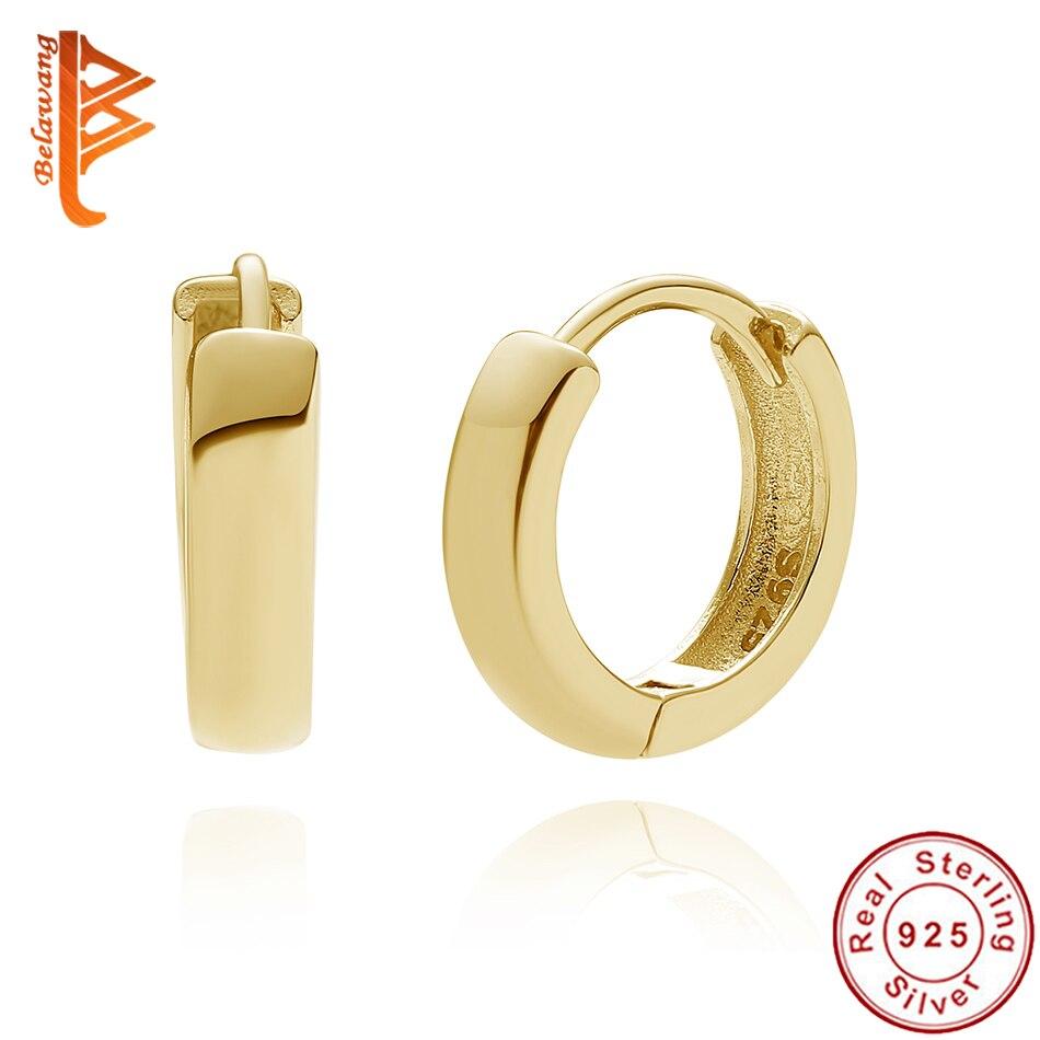 Belawang authentic 925 prata esterlina bold aros brincos para as mulheres 18 k banhado a ouro círculo brincos casamento noivado jóias