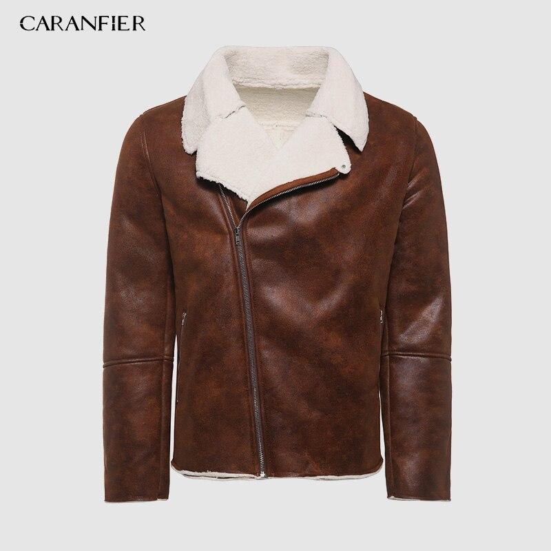 CARANFIER-سترة جلدية مع سحاب للرجال ، ملابس خارجية ، بطانة فرو ، طية صدر السترة ، مجموعة خريف وشتاء 2019 الجديدة