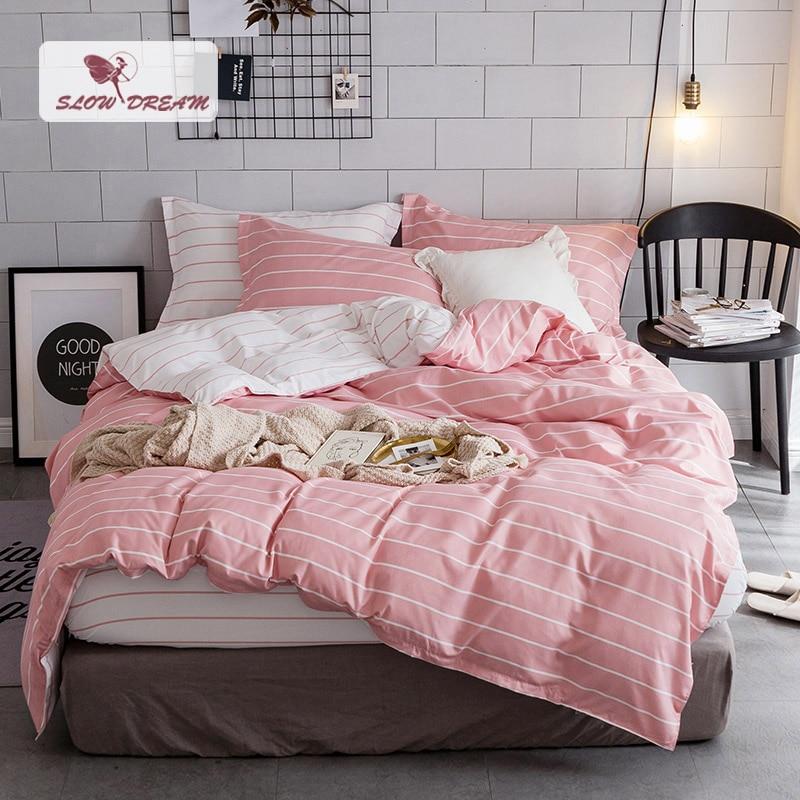 SlowDream Çizgili nevresim takımı Yatak Örtüsü Nevresim Çift Kişilik Yatak Çarşafları Çarşafları Yorgan Yetişkin Kraliçe Kral Pembe Beyaz Yatak Örtüsü