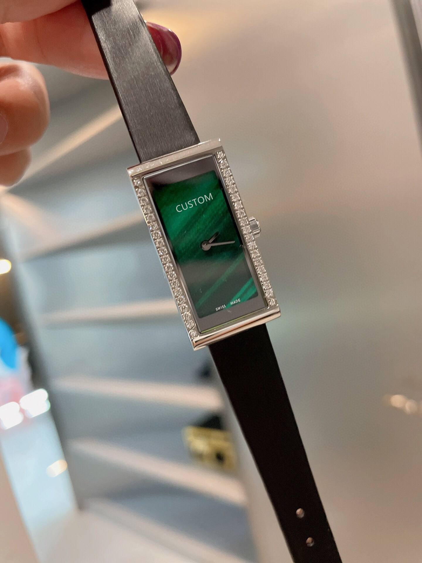 Casual Women Rose Gold Geometric rectangular Watches Black Leather Quartz watch Female Stainless Steel Diamond Clock 36mm enlarge