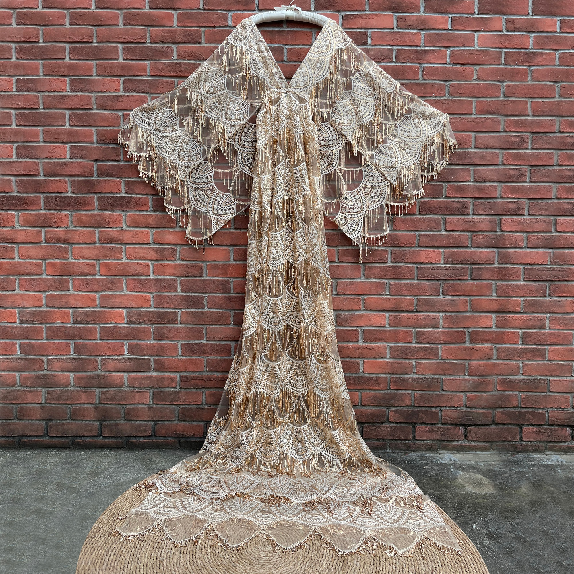 Vintage Boho Sequent Fan Style Maternity Cothing Pregnant Gown Lace Robe Couture Woman Photography Costume Baby Shower Dress enlarge