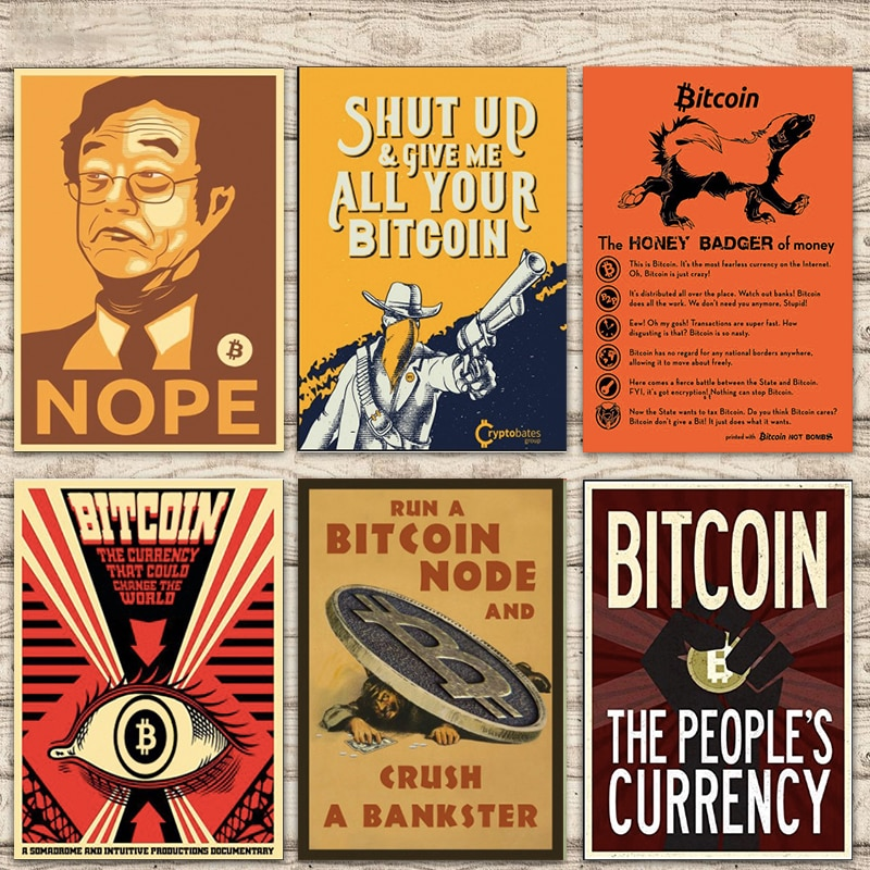Run a Bitcoin node and smash a banker cryptocurrency decoration canvas painting vintage wall poster home decoration gift