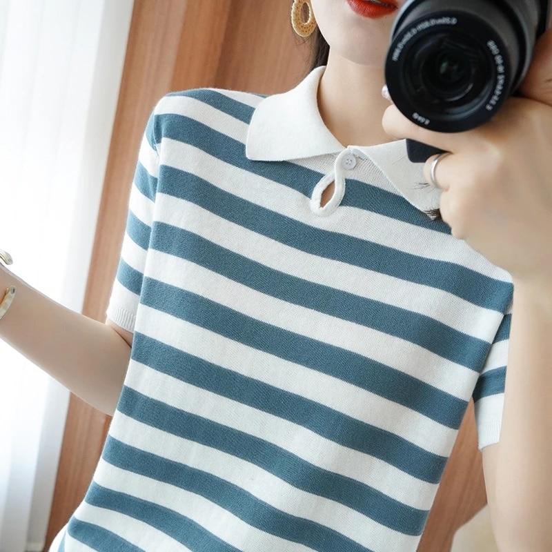 Summer Hot Sale 100% Cotton Top T-shirt Ladies Knit Short Sleeve Lapel Slim Short Pullover S-XXL 21 ATTYYWS brand ladies Sweater