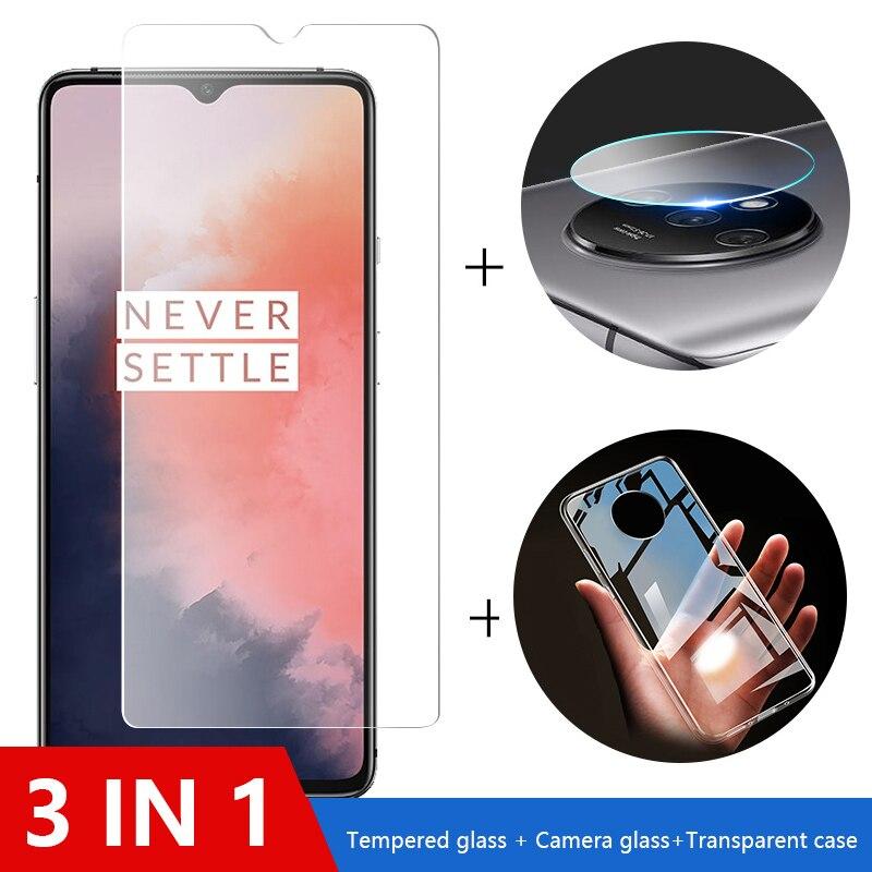 3-in-1 Fall + Kamera Glas Für oneplus 7t pro Screen Protector Objektiv Glas Auf oneplus 7t 7 6t 6 schutz Glas