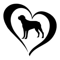 14cm14cm creative rottweiler dog love heart car sticker pvc fashion decoration waterproof decal blacksilverwhiteredlaser