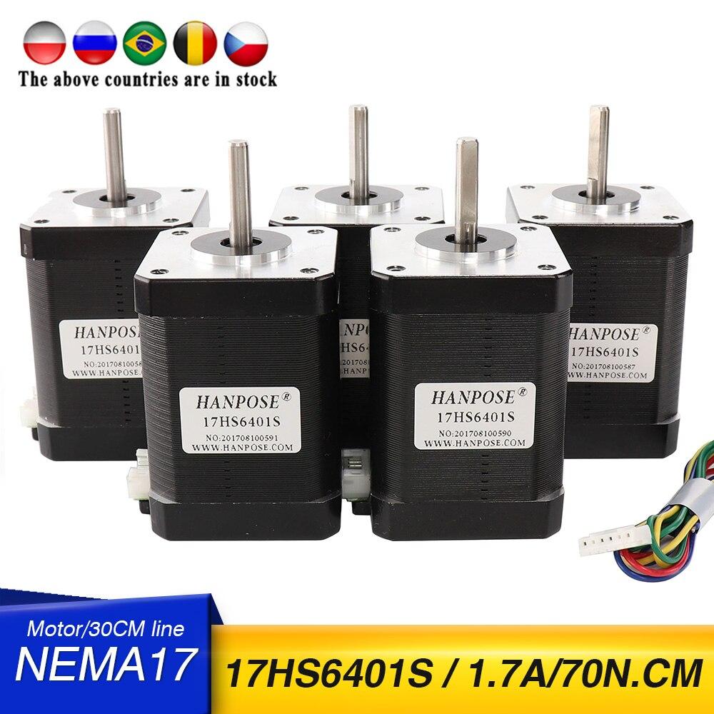 5 قطعة ل 3D طابعة 1 قطعة nema17 محرك متدرج 17HS6401S 2 مراحل محرك أشواط هجين محرك متدرج 1.7A ، 72N.CM ، 60 مللي متر ، 4-سلك محرك متدرج