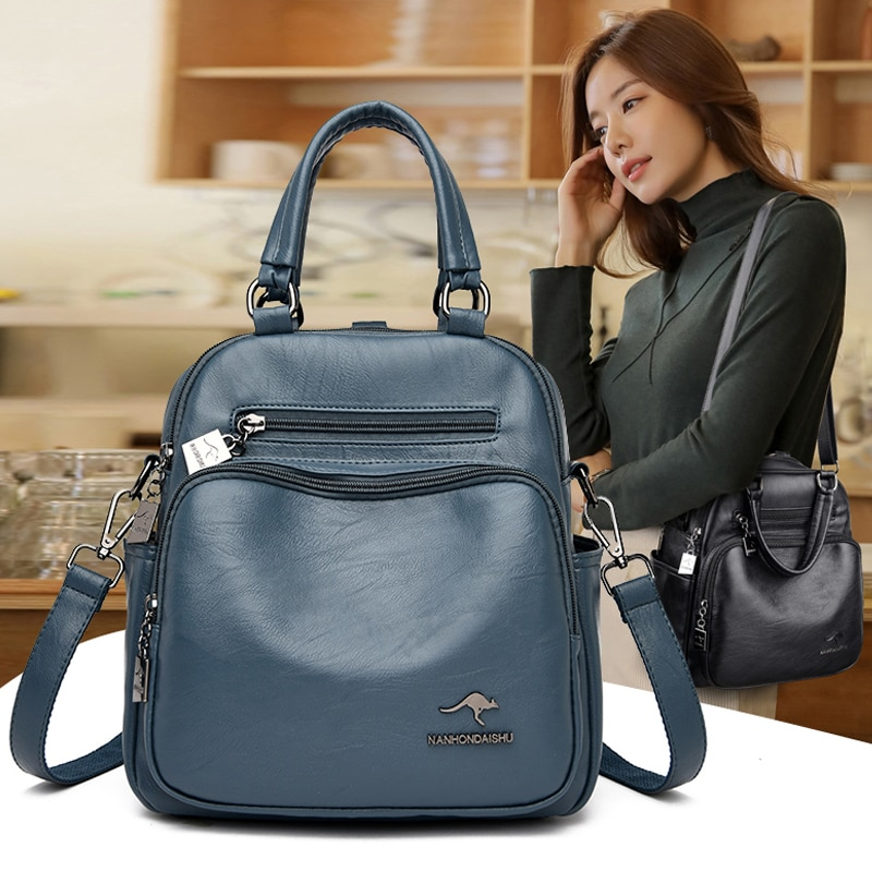 2021 New Women Backpack High Quality Leather School Bags for Girls Large Capacity Ladies Travel Backpack Women Vintage Backpacks