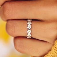 sweet little daisy ring for women mini cute drip glaze white flower rings cuff party wedding beauty jewelry