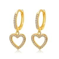 devyes love electroplating earrings female micro studded heart shaped earrings