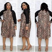 New style African womens clothing Dashiki Leopard-print patchwork mesh long sleeve commute  dress size L-XXXL  YWQ 392