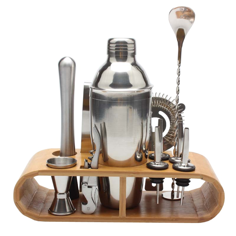 750ml/600ml Stainless Bar Cocktail Shaker Set Barware Set Shaker Set with Wooden Rack