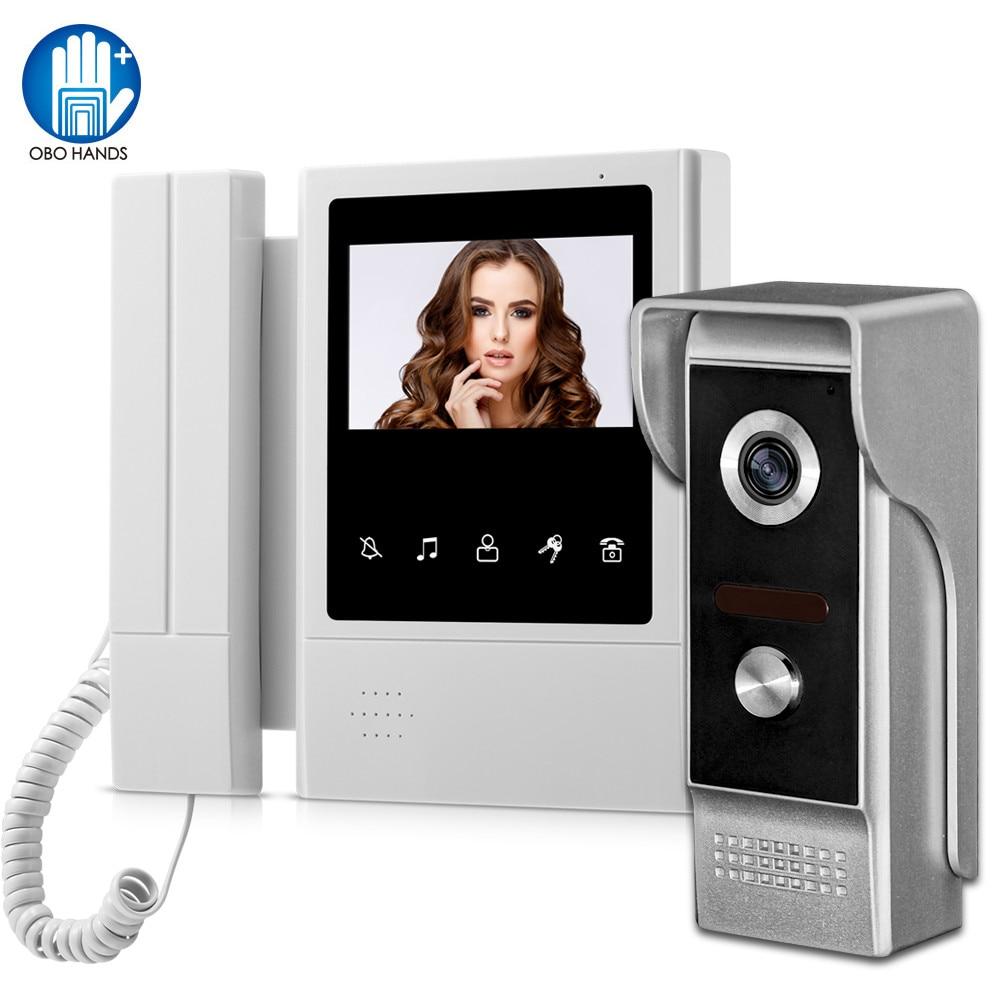 4.3 inch Home Intercom Video Door Phone Video Intercom Doorbell Doorphone Waterproof 700TVL Camera T