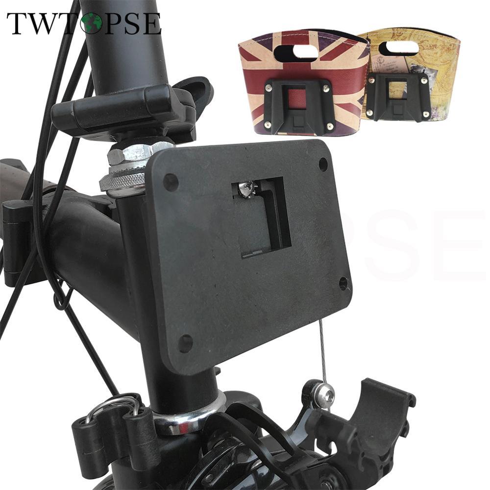 Adaptador de bloque transportador de bicicleta TWTOPSE para bolso de la bicicleta plegable Brompton soporte de Rack ABS montaje de bloque transportador frontal con pernos