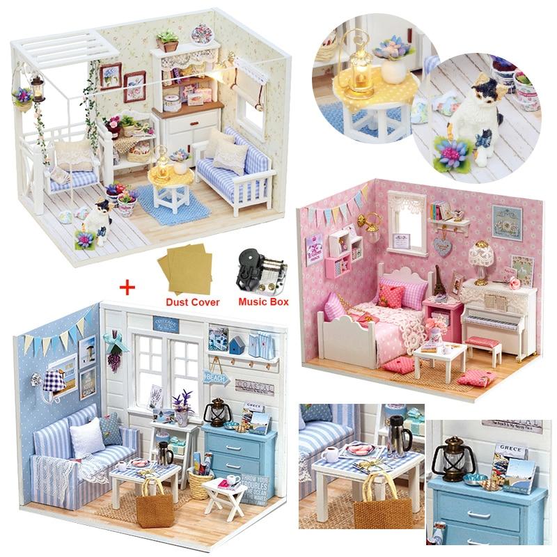 Puppe Haus Möbel DIY Miniatur Modell Staub Abdeckung 3D Holz Puppenhaus Weihnachten Geschenke Spielzeug Für Kinder Kätzchen Tagebuch H013