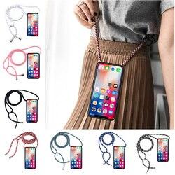 Cinta cabo de corrente caso de telefone para samsung galaxy s5 mini s6 edge plus s7 borda s8 s9 mais colar cordão coque caso