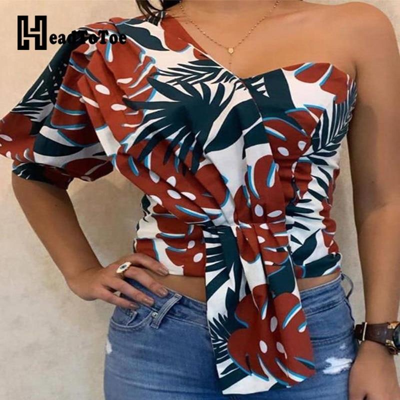 Blusa Sexy de mujer con un hombro estampado, Tops de señora, Vestido corto de media manga, blusas informales de estilo urbano