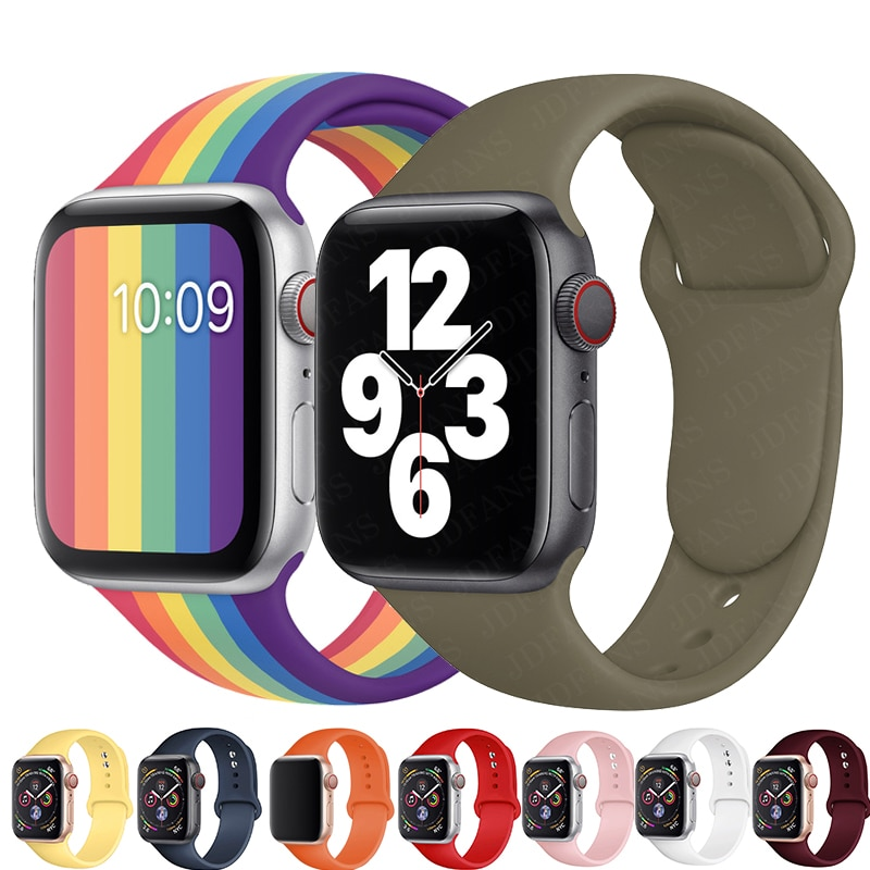 soft silicone loop strap for apple watch band 5 4 44mm 40mm bracelet wristband for iwatch series 5 4 3 2 1 42mm 38mm accessories Rainbow Soft Silicone Watch Strap Loop For Apple band Watch 40mm 44mm 42mm 38mm Sport bracelet for iwatch 6 SE 5 4 3 wristband