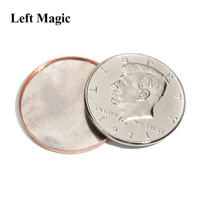 Magnético expandido escudo (meio dólar) moeda truques mágicos ilusões acessórios mágicos ilusões truque mágico acessórios