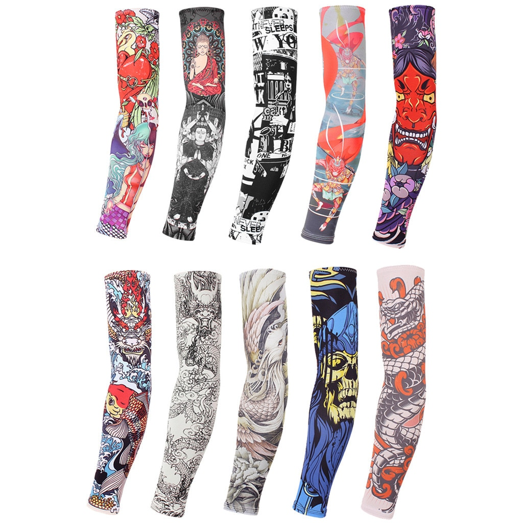 Unisex verano tatuaje falso brazo mangas para hombres Unisex mujeres protección solar brazo camiseta protección UV Hip Hop Punk Slip On Tattoo