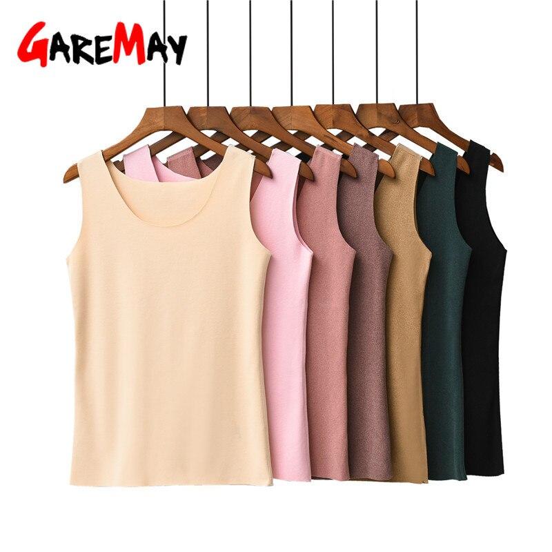 Caliente Camiseta de tirantes de terciopelo Tops mujeres sin mangas de cuello redondo suelta Casual camiseta Chaleco de las mujeres Singlets camisola algodón Mujer chaleco