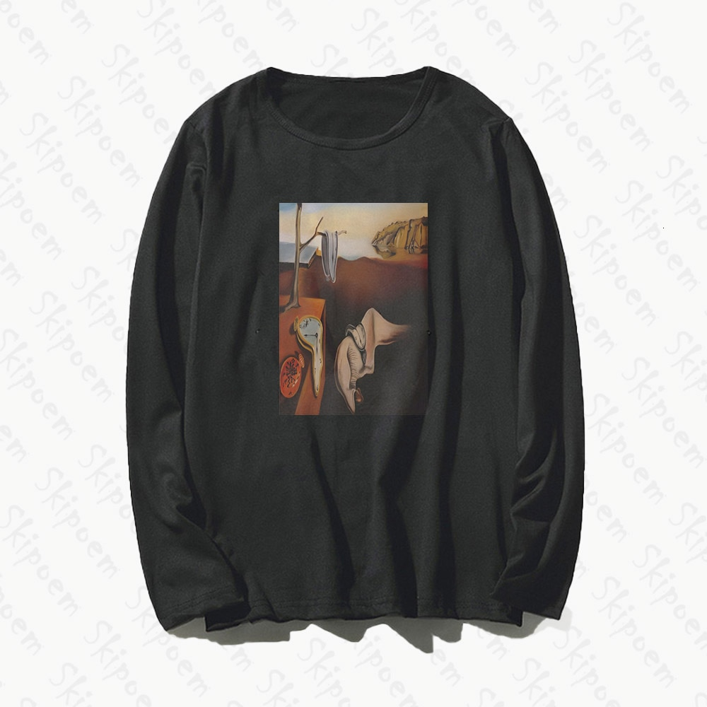 Camiseta de mujer de arte Surreal de Salvador Dalí, Camiseta de algodón de manga larga estética de estilo coreano Kawaii Vintage de talla grande, camiseta para vestir para mujer
