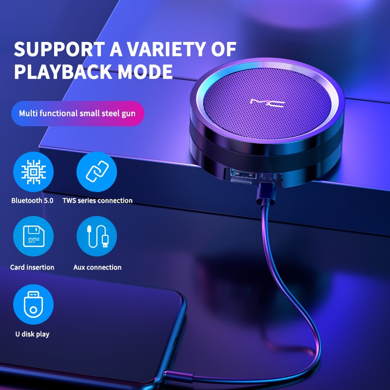 Minialtavoz Bluetooth compatible con Subwoofer, reproductor Mp3, reproductor de música, Boombox, portátil